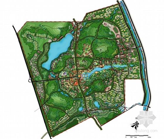大型生态温泉度假区规划设计总平面图
