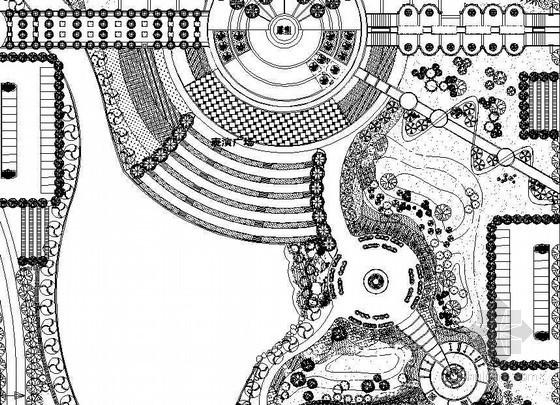 某校区局部景观平面图及植物配置总图