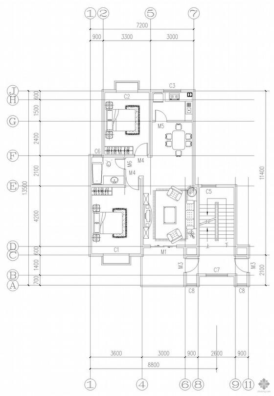 板式多层一梯两户二室一厅一卫户型图(93/93)