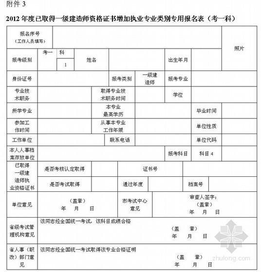 2012年度一级建造师考试报名表(7页完全版)图片
