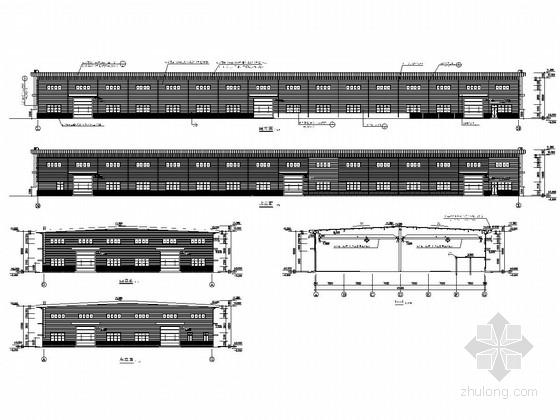 带悬挑造型全钢结构设备厂房建筑结构施工图
