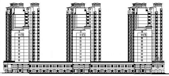 [湘潭市]某国际小区十八层商住楼A、B栋裙楼建筑结构水电施工图