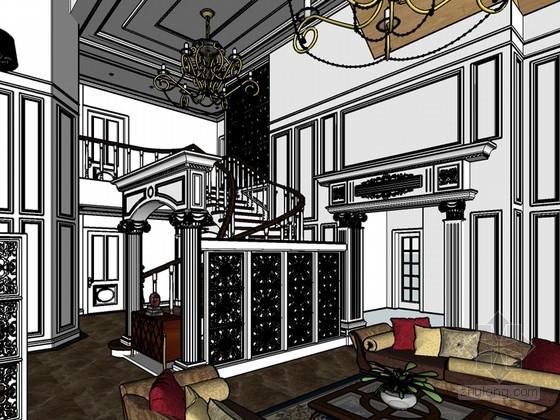 欧式别墅客厅SketchUp模型下载