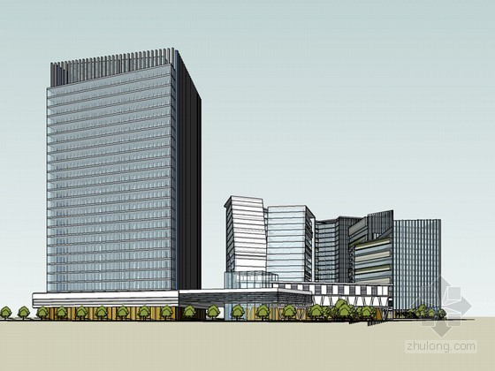 办公楼SketchUp模型下载
