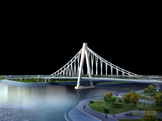250米钢结构人行悬索桥设计图纸