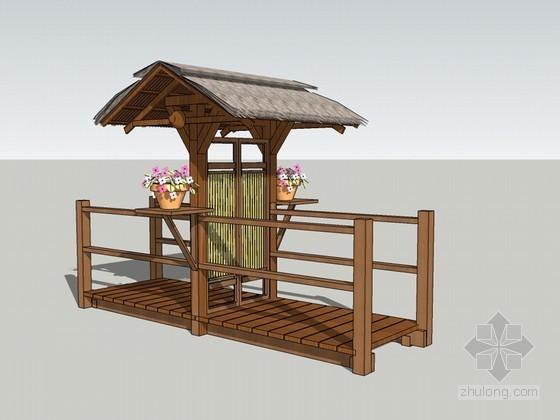 小门头景观SketchUp模型下载