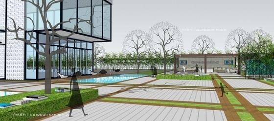 [深圳]绿色生态现代简约风格售楼中心景观概念设计(原创)-方案一效果图
