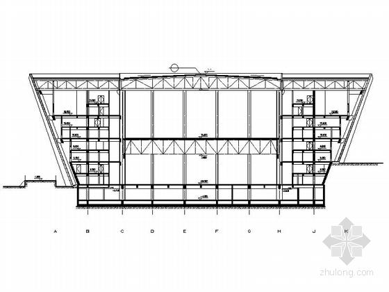 4层多功能现代风格体育中心设计剖面图