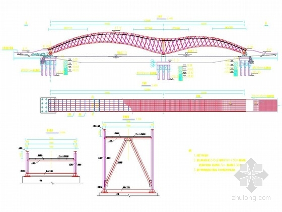 [山东]桥长120m钢桁架结构海鸥形拱桥设计图纸55张