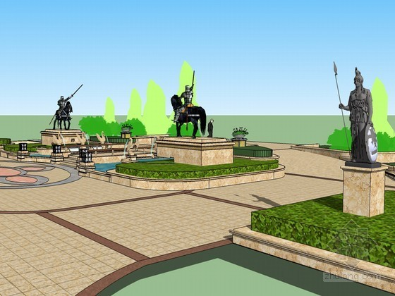 欧式景观SketchUp模型下载