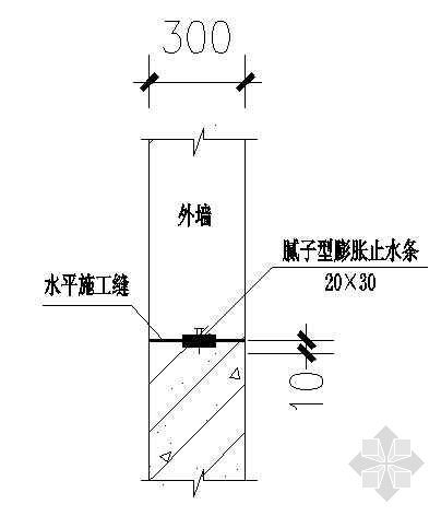 地下室外墙施工缝防水构造节点图