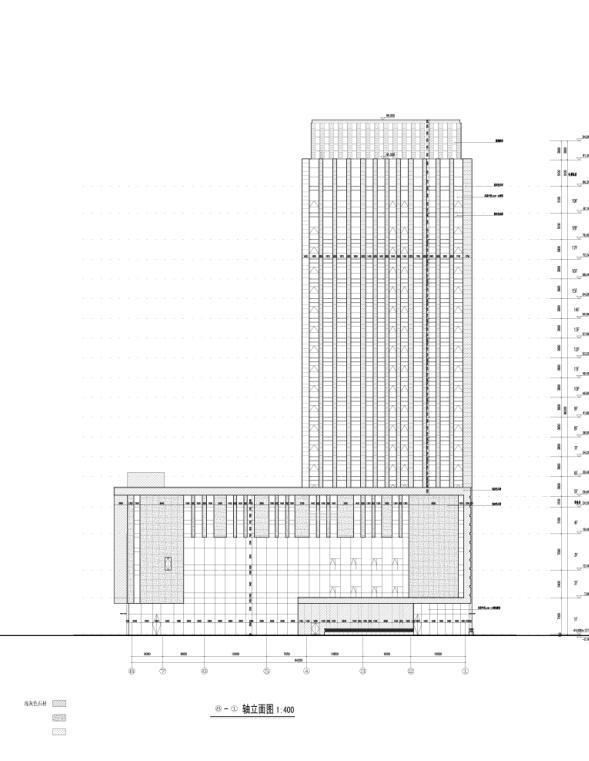 [重庆]高层知名玻璃幕墙酒店建筑立面设计施工图(含效果图)