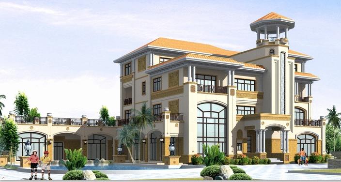 欧式风格四层别墅建筑设计方案(包含CAD)