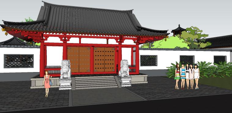 中式古建园林会所院落模型(su模型)-3