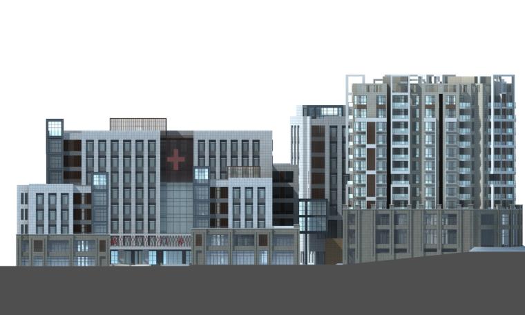 现代风格人民医院建筑设计(CAD+文本).-立面图