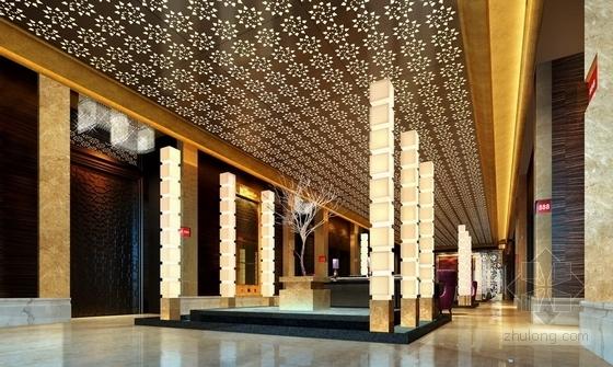 [深圳]城市中心区奢华典雅酒店设计CAD施工图(含效果)休息厅效果图