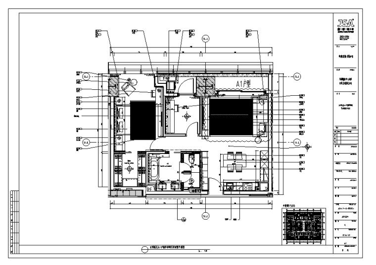 华润公寓样板间B户型施工图(附软装方案、物料表、效果图)