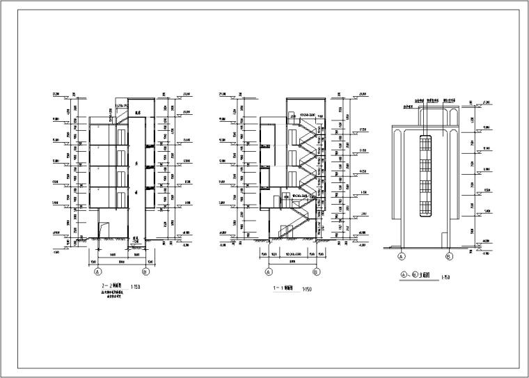 5套现代多层宾馆酒店建筑设计施工图CAD-多层宾馆酒店建筑设计剖面图