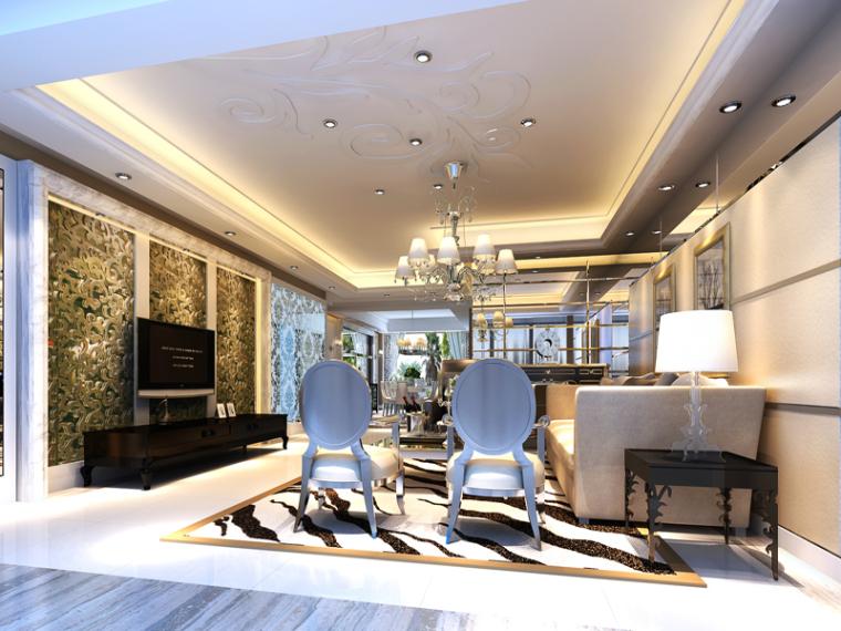 白色欧式客厅3D模型下载