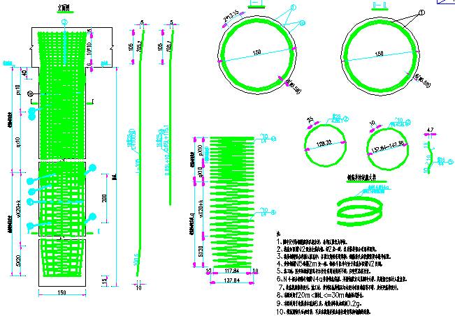 2015年双向四车道高速公路桥梁上下部结构及附属构造通用图583张CAD(箱梁简支板箱涵桩)-桥台桩基钢筋布置图