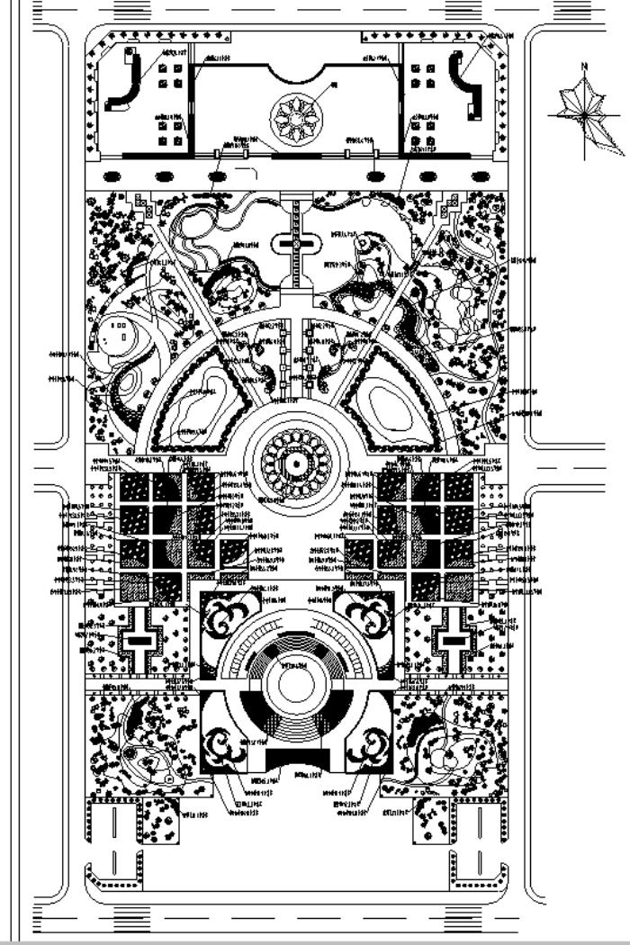园林各类绿地景观设计CAD平面图346套(赠送CAD素材图库)-某植物园绿化设计平面图