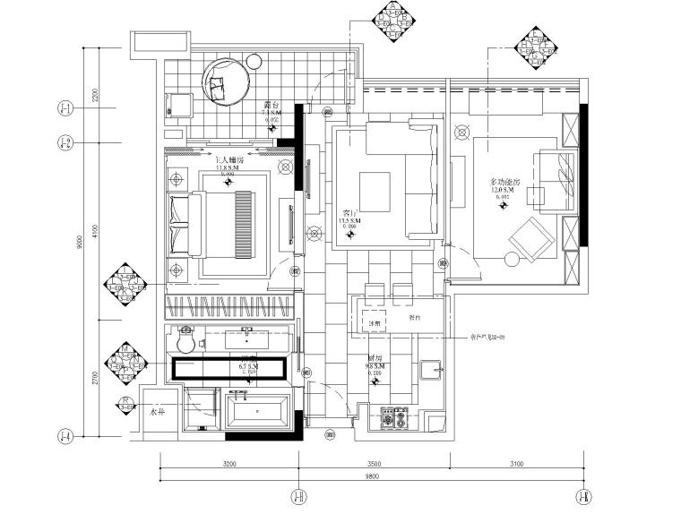 [广东]梁志天-广州雅居乐科学城公寓3号户型一居室样板房全套施工图+效果图+物料