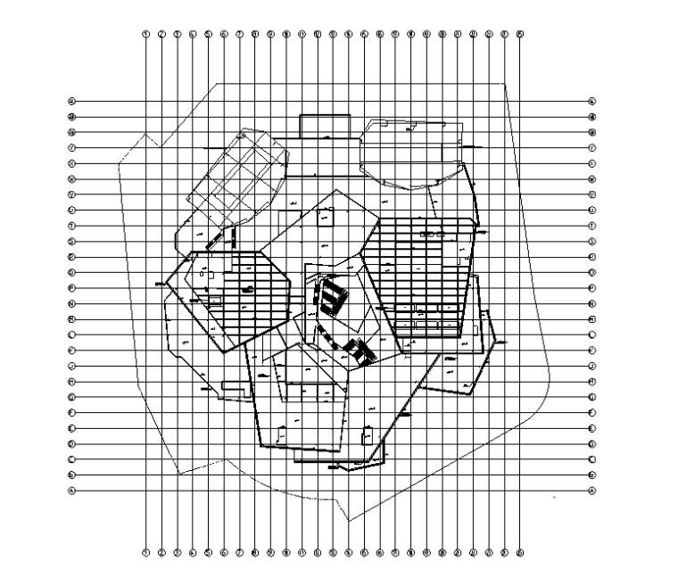 34万平商业办公楼强弱电电气施工图(电缆|变配电所负荷|防雷计算)-屋顶防雷平面图