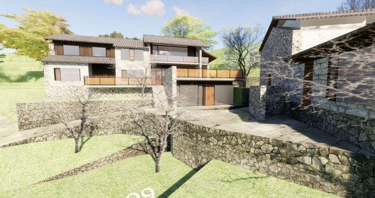 农村民宿建筑模型设计