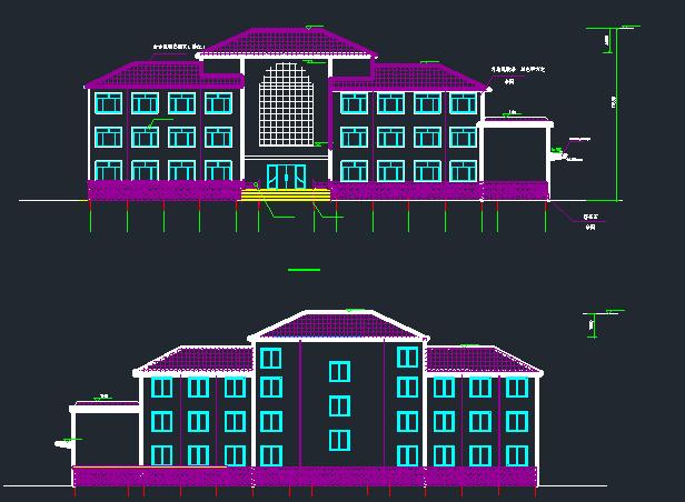 交警中队3层钢框架办公楼建筑结构施工图