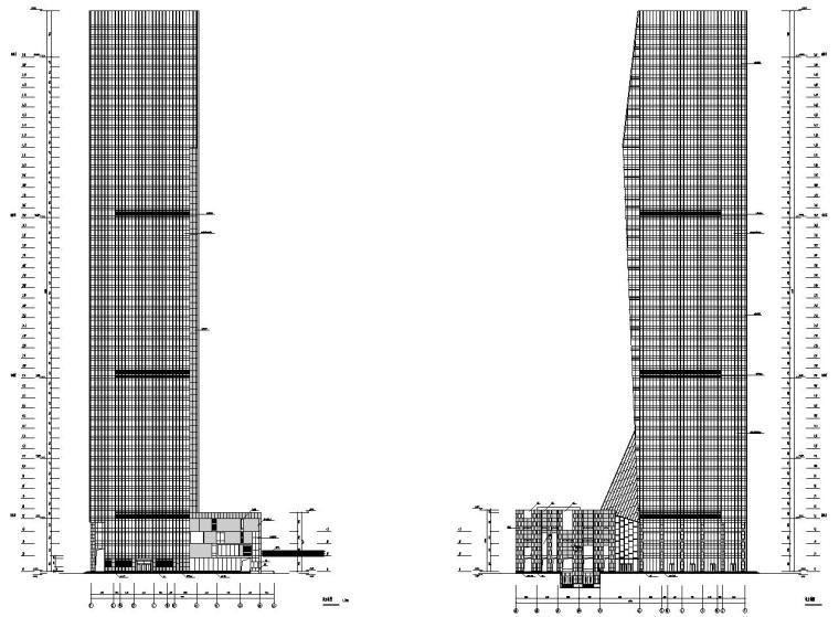 [中国]53层超高层玻璃幕墙企业办公楼CAD全套建筑结构风水电施工图纸