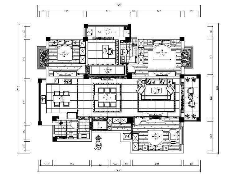 轻中式风格三居室设计施工图(含效果图)