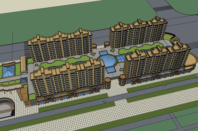 时代广场——商业住宅步行街建筑设计模型