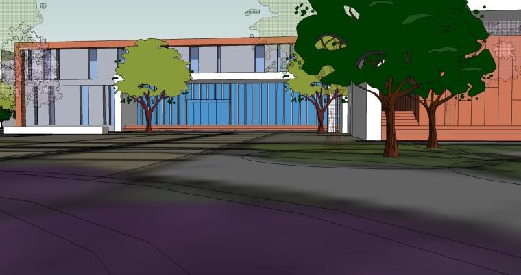 现代风格中学建筑SU精模型_4