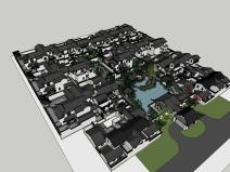 桃李春风中式庭院黄金城设计SU精模型