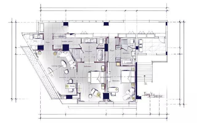 室内手绘 室内设计手绘马克笔上色快题分析图解_25