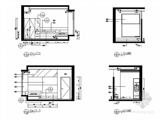 [广东]名师设计多层住宅区C型高档现代四居室装修施工图儿童房立面图