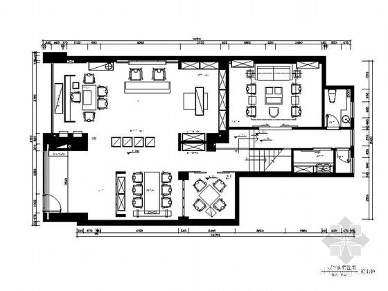 [福建]200平现代中式风格品茶会所室内装修施工图(含效果图)