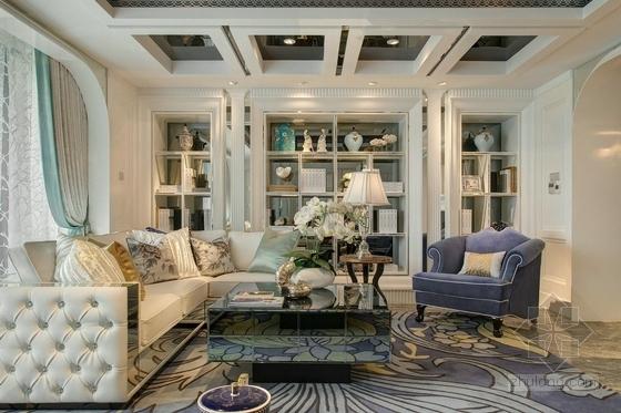 精品浪漫法式风格三居室室内装修施工图(含效果)客厅效果图