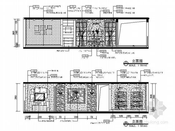 地中海风格客厅立面CAD详图