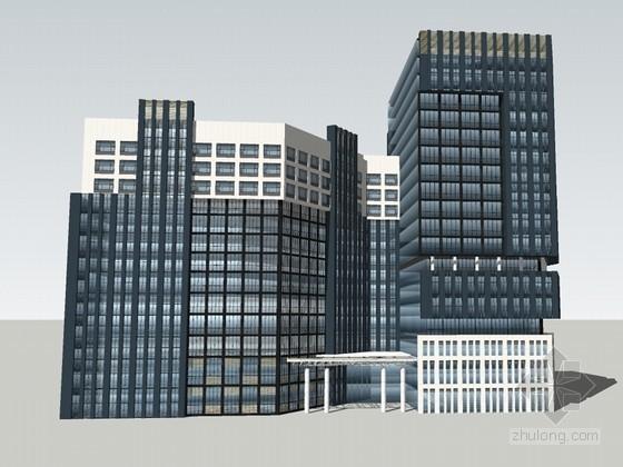 现代高大建筑SketchUp模型下载-现代高大建筑