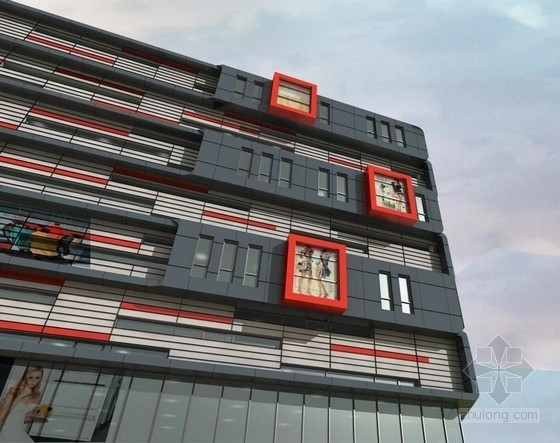 [安徽]七层开放抒情性办公综合体建筑设计方案文本-七层开放抒情性办公综合体建筑效果图