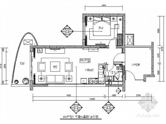 [海南]滨海度假中心典雅一居室样板间装修施工图(含效果)
