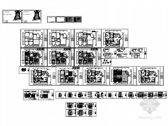 [广州]世纪广场典雅四居室样板间装修施工图资料图纸总缩略图