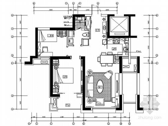 [北京]高档公寓区现代两居室样板间装修图