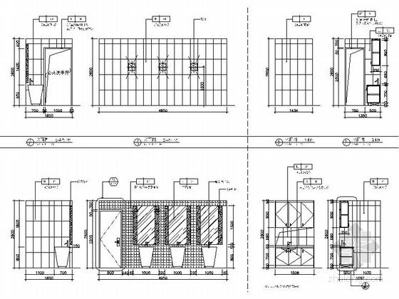 [瑞金]新亚洲别墅群高档售楼处室内装修施工图(含效果)公共洗手厅及展厅立面图