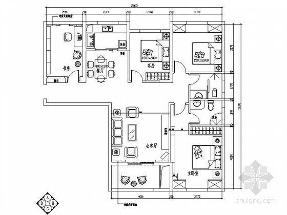 [原创]温馨简洁四室两厅家装施工图(含效果图)