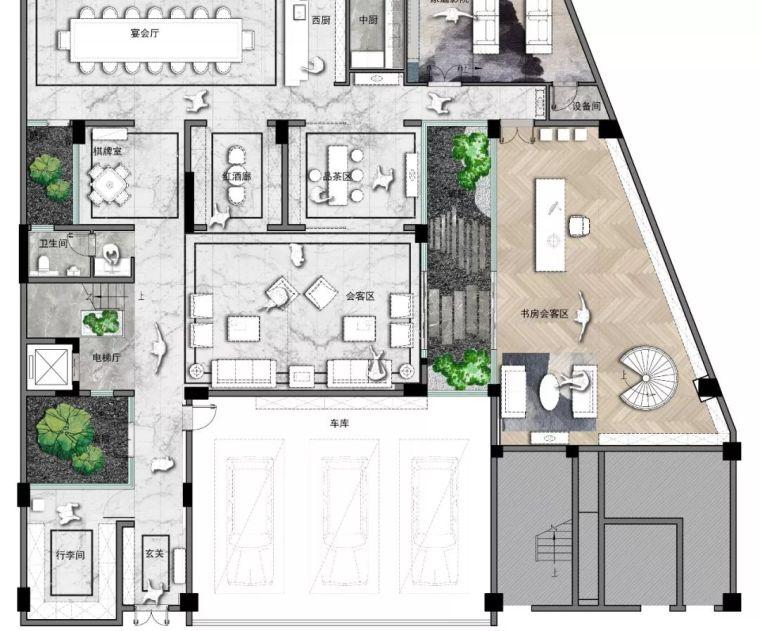 质朴材质也能构建空间气质,顶级别墅样板间设计_26