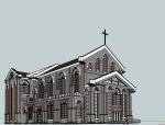 民国时期,西式教堂SU模型