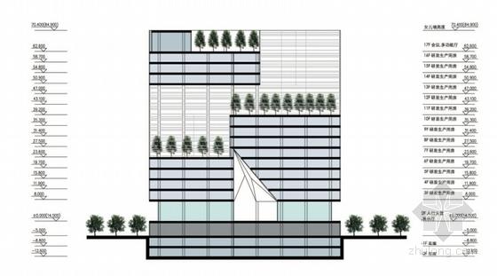 [深圳]裂口磐石造型高层科技大厦建筑设计方案文本-裂口磐石造型高层科技大厦建筑剖面图