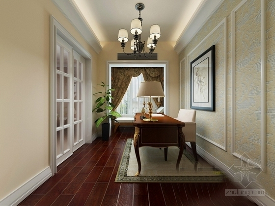 经典美式风情三层别墅样板间CAD装修施工图(含高清效果图)书房效果图